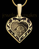 Gold Plated Sterling Fancy Filigree Heart Thumbprint Pendant