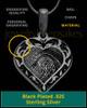 Black Plated Sterling Fancy Filigree Heart Thumbprint Pendant
