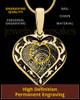 Solid 14k Gold Fancy Filigree Heart Thumbprint Pendant