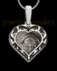 Solid 14k White Gold Fancy Filigree Heart Thumbprint Pendant