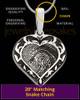 Solid 14k White Gold Fancy Filigree Heart Thumbprint Pendant