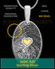 Sterling Heartfelt Oval with Gold Plated Heart Thumbprint Pendant