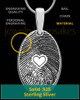 Sterling Silver Heartfelt Oval Heart Thumbprint Pendant