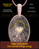 Rose Gold Plated over Sterling Heartfelt Oval Heart Thumbprint Pendant