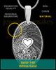 Solid 14k White Gold  Heartfelt Oval Heart Thumbprint Pendant