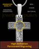 Divine Cross Solid 14k White Gold Thumbprint Pendant