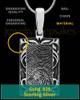 Filigree Sterling Silver Rectangle Thumbprint Pendant