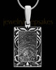 Filigree Rectangle Solid 14k White Gold Thumbprint Pendant