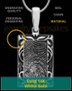 Filigree Rectangle Solid 14k White Gold Thumbprint Pendant