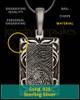 Filigree Antique Sterling Silver Rectangle Thumbprint Pendant