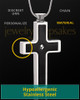 Black Truthful Cross in Stainless Steel