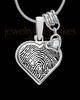 Sterling Silver Heart with Birthstone Thumbprint Pendant