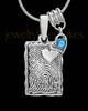 My Love Sterling Silver Rectangle with Birthstone Thumbprint Pendant