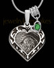 Sterling Silver Fancy Filigree Heart with Birthstone Thumbprint Pendant