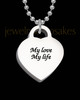 Photo Engraved Small Thick Heart Pendant Stainless Steel