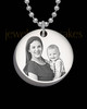 Photo Engraved Petite Thick Round Pendant Stainless Steel