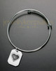 Brushed Octagon with Heart Thumbprint Sophisticate Bracelet