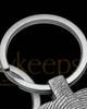 Brushed Stainless Steel Tender Heart Thumbprint Keychain