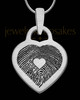 Brushed Stainless Steel Small Heart Thumbprint Pendant