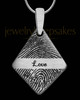 Brushed Stainless Elongated Diamond Thumbprint Pendant