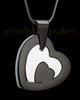 Cremation Keepsake Black Stainless Candid Heart