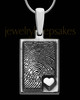 Sterling Silver Rectangle with Raised Thumbprint Pendant