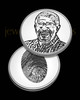 Solid Polished Silver Memorial Coin with Thumbprint and Photo on Back