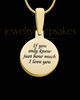 Gold Plated Sterling Silver Round Ash and Thumbprint Pendant