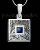 Sterling Silver Square Ash and Thumbprint Pendant