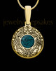 Gold Plated Sterling Silver Small Round Ash and Thumbprint Pendant