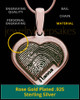 Rose Gold Sterling Silver Raised Heart Thumbprint Pendant