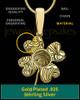 Gold Sterling Silver Four Leaf Clover Thumbprint Pendant