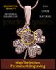 Rose Gold Sterling Silver Four Leaf Clover Thumbprint Pendant