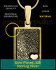 Gold Sterling Silver Rectangle with Raised Thumbprint Pendant