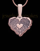 Rose Gold Sterling Cut Petite Heart Thumbprint Pendant with Signature on Back