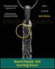 Black Textured Sterling Silver Thumbprint Bar Pendant