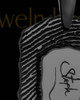Black Sterling Silver Small Signature Dog Tag Thumbprint Pendant