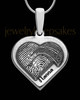 Solid 14K White Gold Raised Heart Thumbprint Pendant