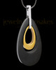 Stainless Elegant Gold Black Teardrop Cremation Keepsake