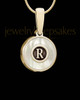 Solid 14K Gold Pearly Initial Ash Jewelry