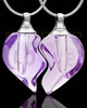 Violet Double Hearts Glass Locket