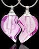 Blushing Double Hearts Glass Locket