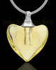 Urn Necklace Yellow Heart Duo Glass Locket