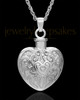 Memorial Pendant 14K White Gold Love Filigree Heart