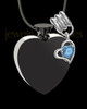 Black and Stainless Steel December Enamored Heart Cremation Keepsake