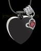 Stainless Steel January Enamored Heart Cremation Keepsake