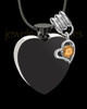 Black and Stainless Steel November Enamored Heart Cremation Keepsake