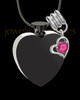 Stainless Steel October Enamored Heart Cremation Keepsake