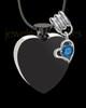 Black and Stainless Steel September Enamored Heart Cremation Keepsake