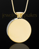 Gold Plated Stainless Abounding Circle Cremation Keepsake